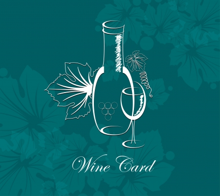 wine card background alcohol drink glass and bottle Vector