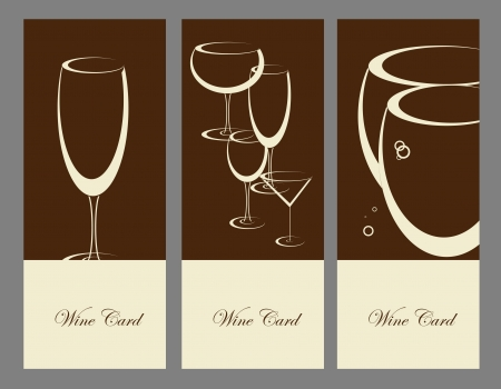 set of wine banner alcohol drink glasses Vector