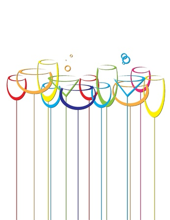 abstract drink background alcohol wine glasses Vector
