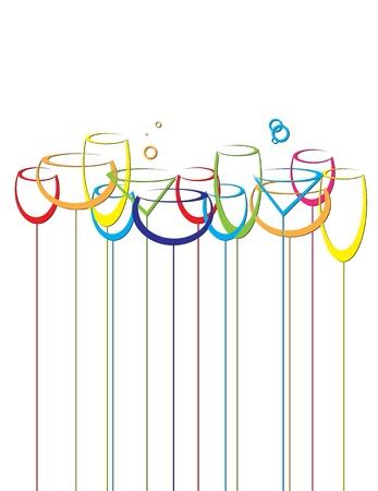 bollicine champagne: astratto sfondo, alcool, bevanda, bicchieri da vino Vettoriali