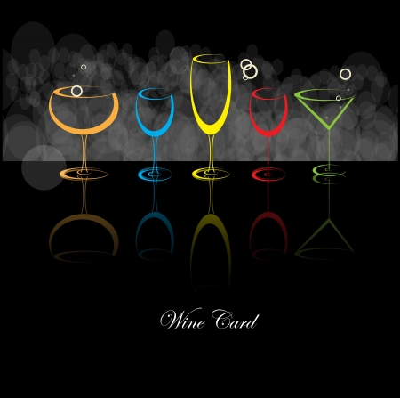 food and wine: wine card background alcohol drink glass Illustration