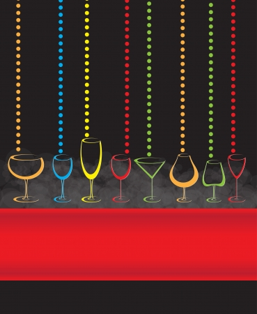 wine card background alcohol drink glass Vector