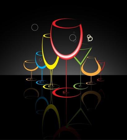 night bar: C�ctel de vidrio resumen ilustraci�n