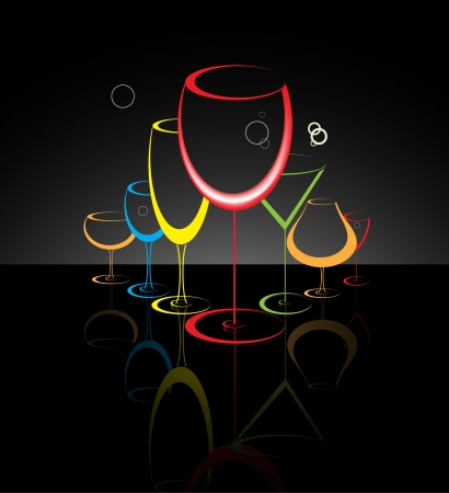night bar: Cocktail glass abstract illustration Illustration