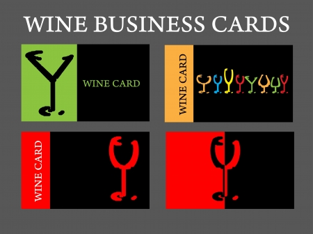food and wine: set of wine business card alcohol company
