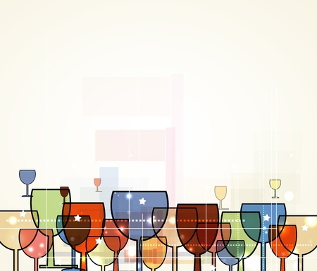 abstract wine christmas background for restaurant menu with glass Vector