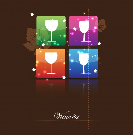 abstract wine list for restaurant menu with glass icon Vector