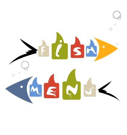 carp fishing: astratto, men� di pesce a colori stilizzato per ristorante Vettoriali