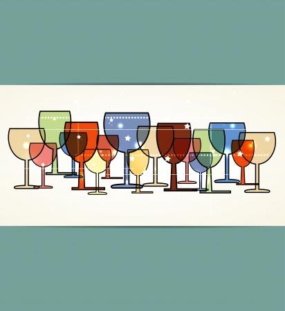 メニュー マップ ガラスの背景を持つワイン カード