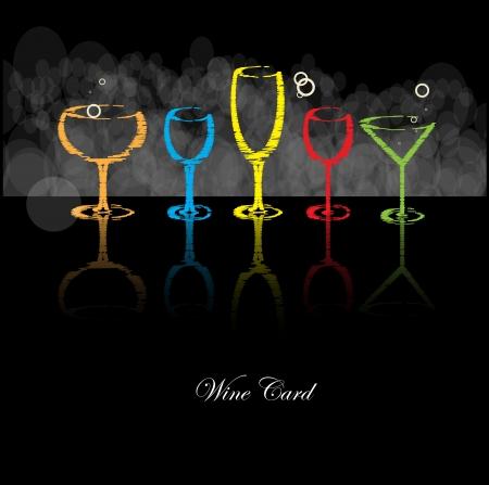 night bar: carta de vinos aislado alcohol bebida cristal Vectores