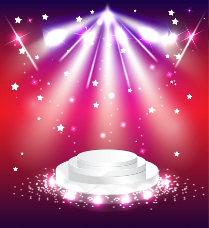 podium with lights scene background stage Vector