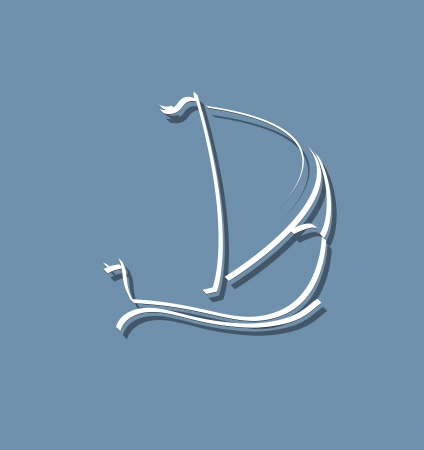abstract stylized sailing ship in the ocean and sea Vector