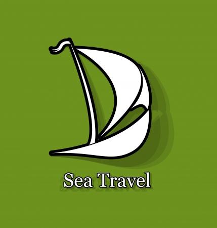 overseas: barco estilizado viajes comerciales, de transporte en el extranjero, el transporte comercial Vectores