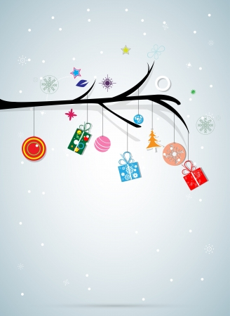 merry christmas tree and happy new year background Vector