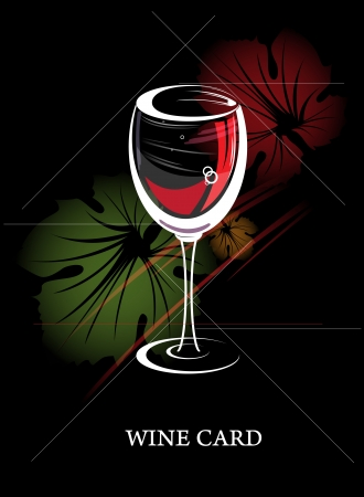 wine card concept menu with grape leaves Vector