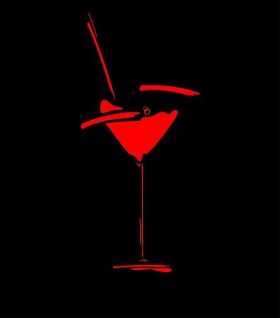 night bar: wine menu concept splash coctail glass Illustration