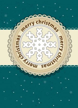 snowbank: merry christmas card background with flake