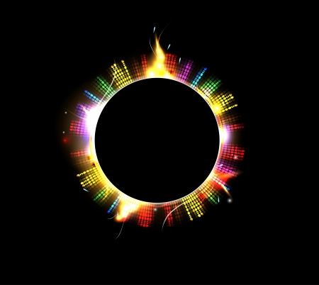 Space background abstract black sun and star Stock Vector - 15618915
