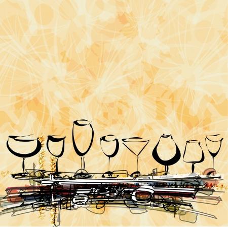 night bar: carta de vinos concepto de men� en la paz de papel Vectores