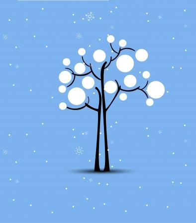 albero stilizzato: Abstract albero di Natale stilizzato futuristico con la neve Vettoriali