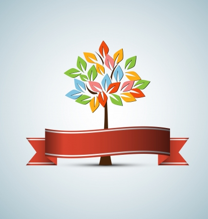 abstract futuristic stylized tree with color leafage Vector