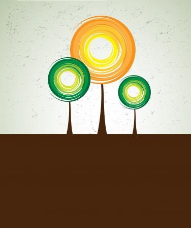 albero stilizzato: astratto albero futuristico stilizzato con fogliame di colore