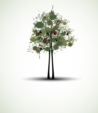 abstract futuristic stylized tree with splashed leafage Vector