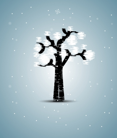 abstract futuristic stylized tree with white leafage Vector