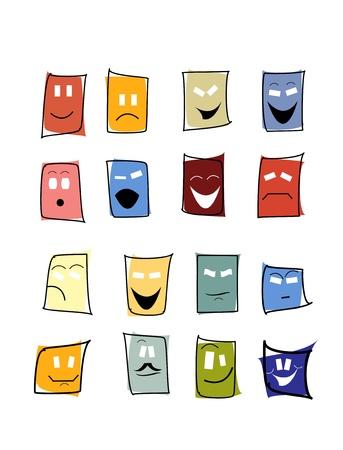 satire: expressions mimic set of mask