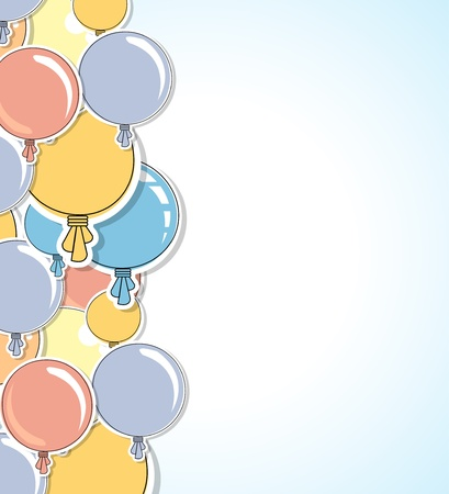 levitation: Abstract color shiny balloons border background Illustration