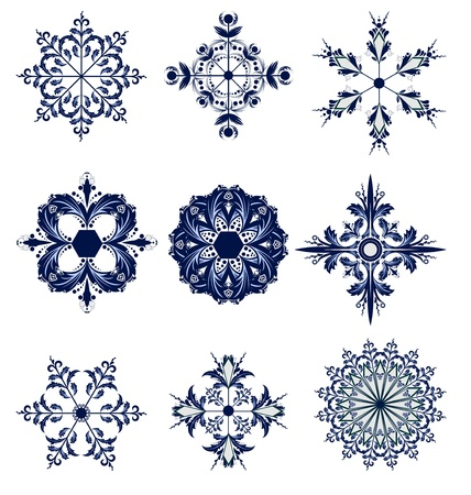 set of blue snowflakes icon collection