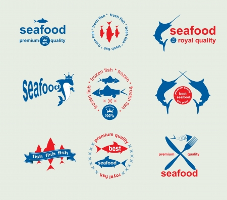 sea mark: Set of vintage and modern seafood labels for restaurant and seafood trade