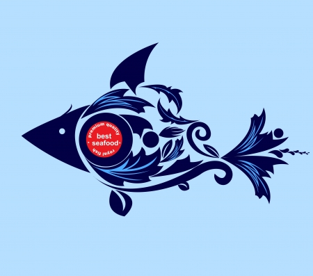 Sea Food vintage fish Vector