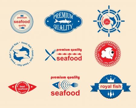 druckerei: Set von Vintage-und moderne Fisch Etiketten f�r Restaurant und Meeresfr�chten Handel Illustration