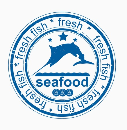 Grunge royal Sea Food rubber stamp Vector