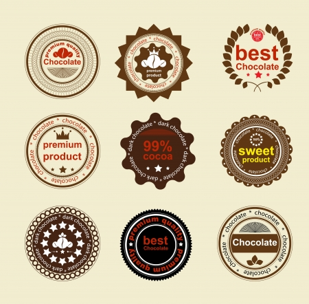 royal quality: Set of vintage and modern chocolate labels for restaurant and trade