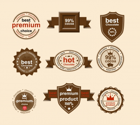 Set of vintage and modern chocolate labels for restaurant and trade Vector