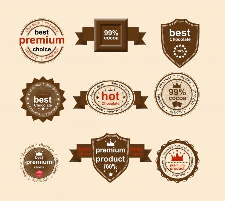 Set van vintage en modern chocolade etiketten voor restaurant en handel Vector Illustratie