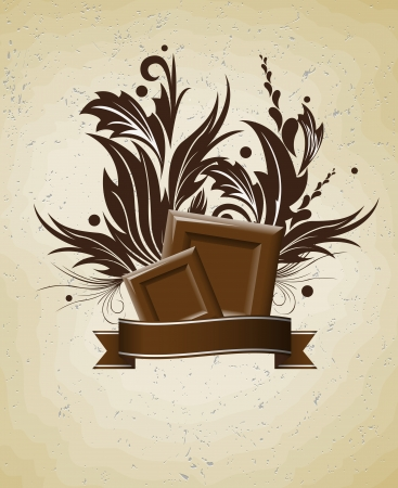 chocolate label background Vector