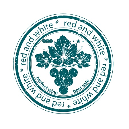 red and white wine label rubber stamp Vector