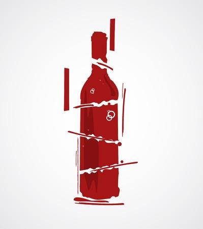 blanc: estilizada botella de vino Vectores