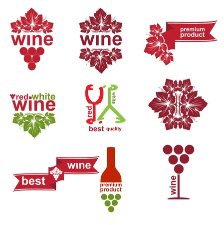 food and wine: Set of vintage and modern wine elements labels for restaurant and sale