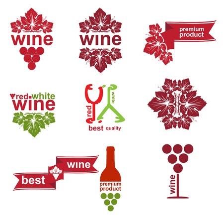 wijn en spijzen: Set van vintage en moderne wijn elementen etiketten voor restaurant-en verkoop Stock Illustratie