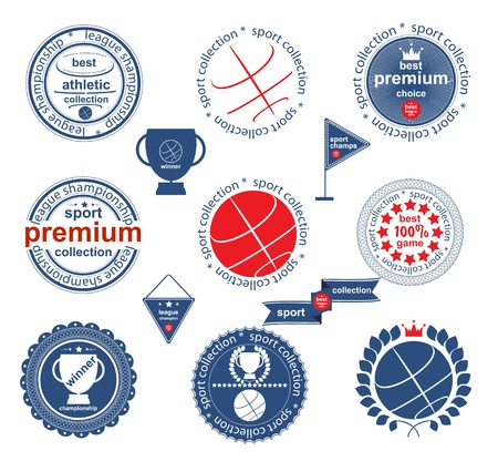 Set of vintage and modern sport elements labels for sale Vector