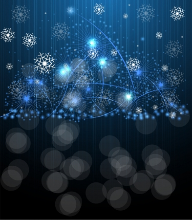 Christmas blue salute star and new year night background Vector