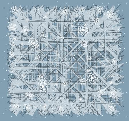 frozen glass: frozen glass window winter background Illustration