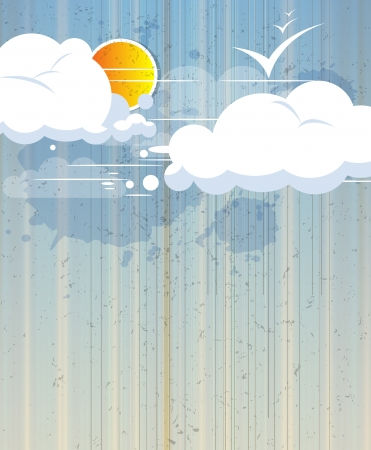 sky abstract retro background with clouds and sun Stock Vector - 16252776