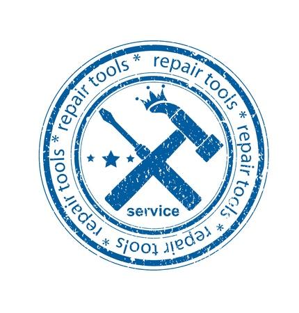 upkeep: Grunge repair tools rubber stamp