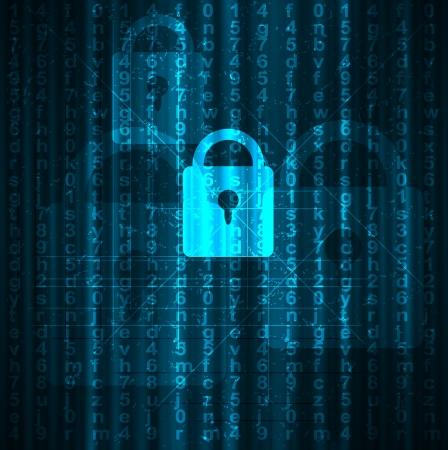 guardia de seguridad: Resumen de la tecnolog�a digital conceptual fondo de seguridad con cerradura Vectores