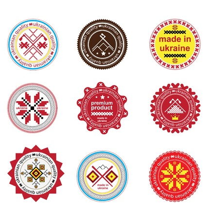 Set of vintage and modern ukrainian elements labels for sale Vector